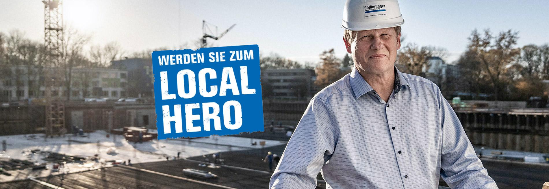 Als Bauleiter auf Jobsuche? Direkt bei E. Hönninger bewerben. Hier sieht man einen zufriedenen Mitarbeiter der Bauunternehmnung E. Hönninger.